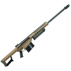 "Barrett M82A1 Semi Auto Rifle .50 BMG 29"" Fluted Barrel 10 Rounds Flip Up Iron Sights Lightweight Quick Detach Bipod Arrowhead Muzzle Brake FDE Cerakote Finish"