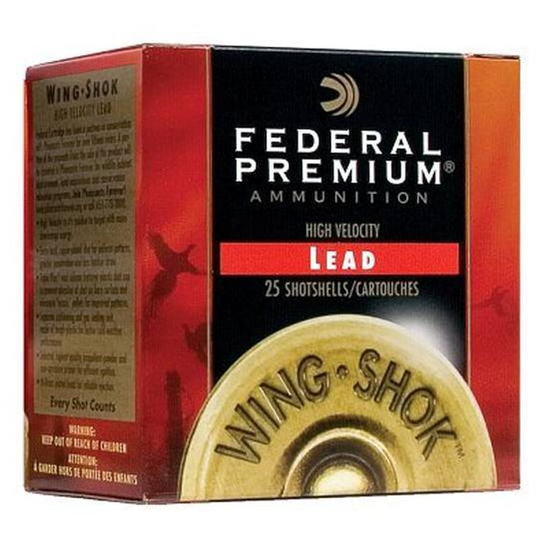 "Federal Wing Shok High Velocity Upland Load 28 Gauge Ammunition 2-3/4"" #7.5 Copper Plated Lead Shot 3/4 Ounce 1295 fps"