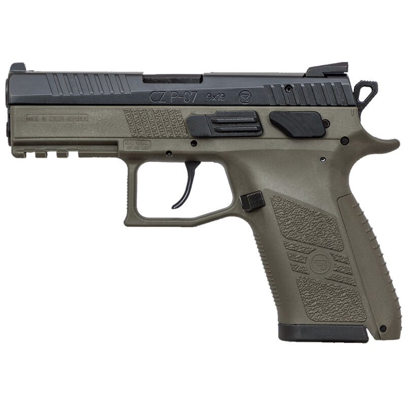 "CZ P-07 Semi Auto Pistol 9mm Luger 3.75"" Barrel 15 Rounds Tritium Night Sights Omega Trigger System Polymer Frame OD Green Finish"