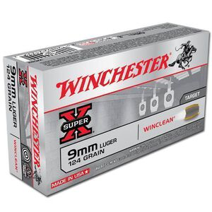 Winchester Winclean 9mm Luger Ammunition 50 Rounds, BEB, 124 Grains