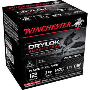 "Winchester Drylok Super Steel High Velocity 12 Gauge Ammunition 25 Round Box 3-1/2"" BBB Plated Steel Shot 1-1/2 oz 1475 fps"