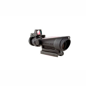 Trijicon ACOG 3.5x35 Scope Dual Illuminated Red Chevron 5.56 Ballistic Reticle With LED 3.25 MOA Red Dot RMR Type 2 and TA51 Mount Matte Black Finish