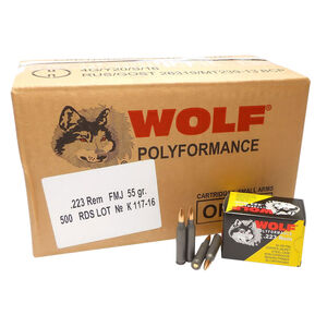 Wolf Performance .223 Remington Ammunition 500 Rounds 55 Grain Full Metal Jacket Brass Jacket Bullet Steel Cased 3241fps