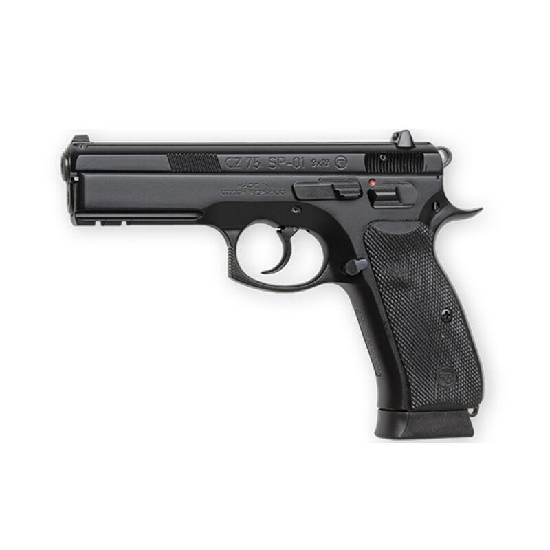 "CZ 75 SP-01 Semi Auto Handgun 9mm 4.6"" Barrel 10 Rounds Rubber Grips Night Sights Black Finish 01152"