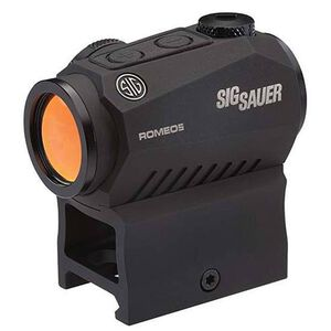 SIG Sauer Romeo5 1x20 Compact Red Dot Sight 2 MOA Red Dot Reticle .5 MOA Adjustments CR2032 Battery Picatinny Style Low Rise/Co-Witness Mount Matte Black