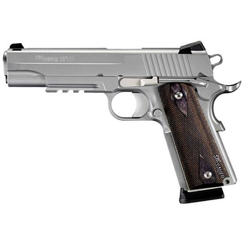 """SIG Sauer 1911 Rail Semi Automatic Pistol .45 ACP 5"""" Barrel 8 Rounds Blackwood Grips Stainless Finish 1911R-45-SSS-CA"""