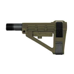 SB Tactical Five Position Adjustable Brace OD Green With Six Position Mil-Spec Carbine Ext