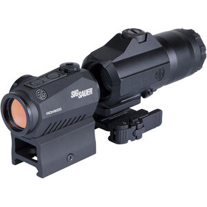 SIG Sauer Romeo5 Red Dot Optic/Juliet3 3X Magnifier Combo 8 Daytime/2 Night Vision Settings CR2032 Battery Graphite/Black