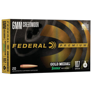 Federal Premium Gold Medal 6mm Creedmoor Ammunition 20 Rounds 107 Grain Sierra Match King BTHP 3000 fps