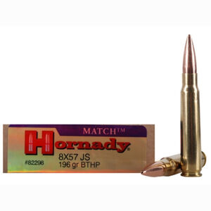 Hornady Vintage Match 8mm Mauser Ammunition 20 Rounds BTHP 196 Grains 82298