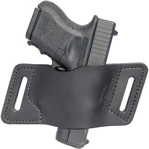 VersaCarry Quick Slide Belt Holster Size 3 Single Stack 9/40 Autos Ambidextrous Leather Black AOWBBK3