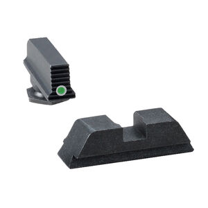 Ameriglo Sight Set for GLOCK Black Serrated Front with Green Tritium Dot and Flat Black Rear