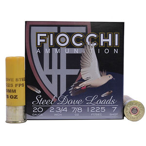 """Fiocchi 20 Gauge Ammunition 25 Rounds 2.75"""" #7 Steel Shot 0.875 oz."""