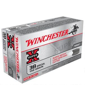 Winchester Super X .38 Special Ammunition 50 Rounds, LSWC, 158 Grains