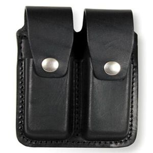 Boston Leather Double Mag Holder for 9mm/.40 Cal. Hidden Snap Basket Weave Leather Black 5601HS-3