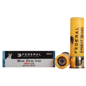 "Federal Power-Shok 20 Gauge Ammunition 5 Rounds  2.75"" 7/8oz Sabot Slug 1,450 Feet Per Second"
