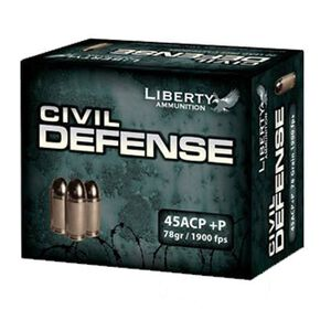 Liberty Civil Defense .45 ACP +P 78 Grain Copper HP 1900 fps 20 Rounds