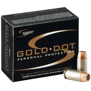Speer Gold Dot Personal Protection 9mm Luger Ammunition 20 Rounds 124 Grain Gold Dot Hollow Point 1150fps