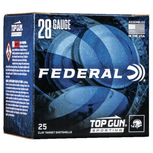 "Federal Top Gun Sporting 28 Gauge Ammunition 250 Rounds 2-1/2"" Shell #7.5 Lead Shot 3/4oz 1330 fps"