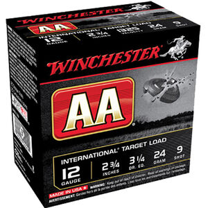 "Winchester USA AA International Target Load 12 Gauge Ammunition 2-3/4"" #9 Lead Shot 24 Gram 1326 fps"
