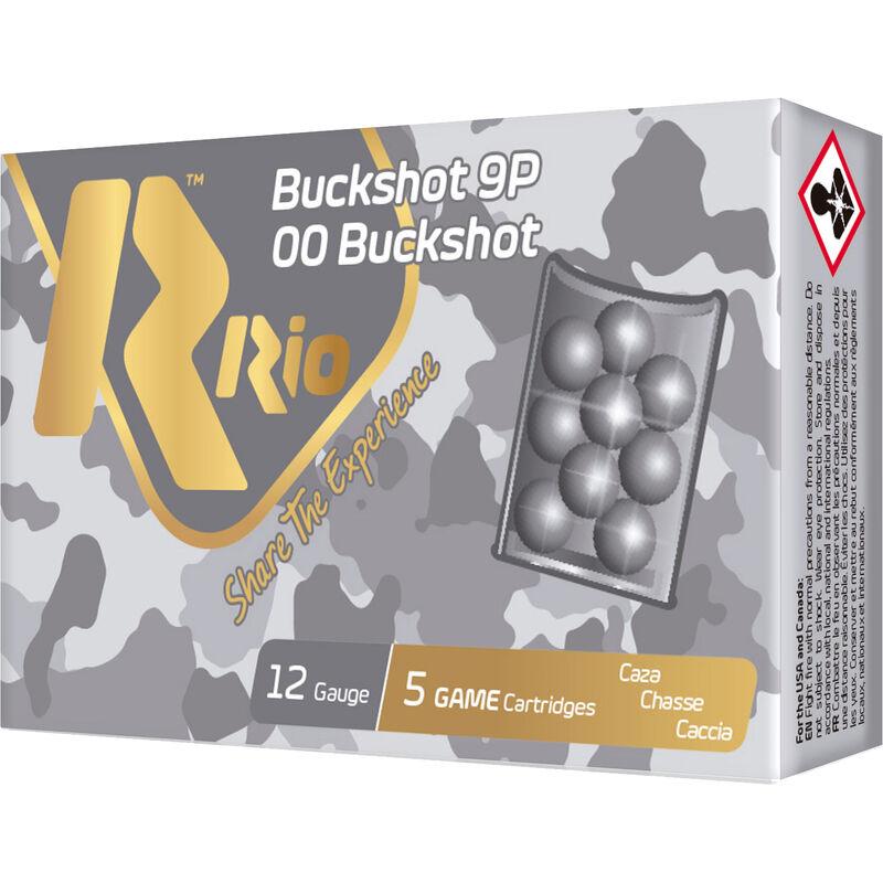 """Rio Buckshot 9P 12 Gauge Ammunition 5 Rounds 2-3/4"""" 9 Pellet 00 Buck 1-1/5oz Lead Shot 1345fps"""