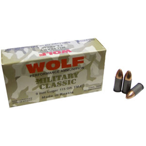Wolf Military Classic 9mm Luger Ammunition 50 Rounds115 Grain FMJ Steel Cased Bi-Metal Jacket 1234fps