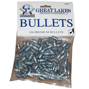 """Great Lakes Bullets .44 Caliber .430"""" Diameter 200 Grain Cast Lead Round Nose Flat Point Bullets 100 Pack"""