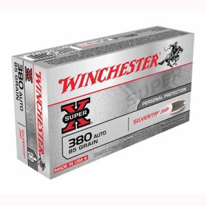 Winchester Super-X Silvertip .380 ACP Ammunition 85 Grain JHP 1000 fps