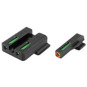 TRUGLO TFX Pro S&W M&P/M&P Shield/SD9/SD40  Front and Rear Set Green TFO Night Sights Orange Ring Steel Black TG13MP1PC