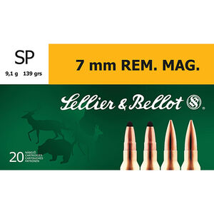 Sellier & Bellot 7mm Rem Mag SP, 139 Grain, 3160 fps 20 Rounds SB7B