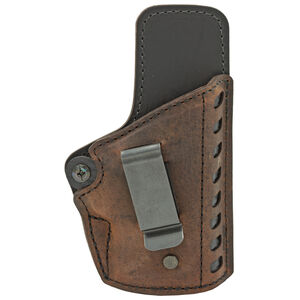 VersaCarry Compound Series Gen II OWB Holster Size 3 Fits Most Single Stack and Sub-Compact Semi-Auto Pistols Right Hand Hybrid Leather / Kydex Distressed Brown CE2113-1