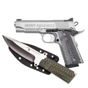 """Magnum Research Desert Eagle 1911 C with Knife Commander Semi Auto Pistol .45 ACP 4.33"""" Barrel 8 Rounds Fixed Sights G10 Grips Carbon Steel Frame/Slide Stainless Steel Finish"""