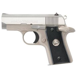 "Colt Mustang PocketLite Semi Auto Pistol .380 ACP 2.75"" Barrel 6 Rounds Ramp Front Sight/Dovetail Rear Checkered Synthetic Black Grips Nickel Frame/Stainless Steel Frame Natural Finish"