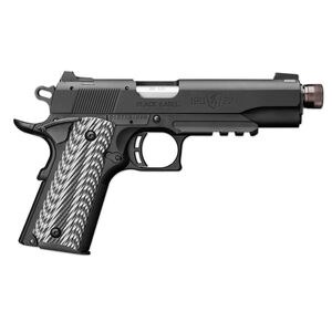 """Browning 1911-22 Black Label Semi Auto Pistol 22 LR 4.87"""" Threaded Barrel 10 Rounds with Rail G10 Grips Black"""