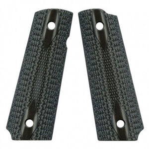 VZ Custom Gun Grips Full Size 1911 Double Diamond Medium Texture G10 Black/Gray