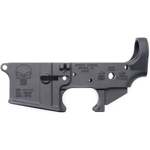 Spikes Tactical AR-15 Forged Stripped Lower Receiver Multi Caliber Punisher Logo Aluminum Black STLS015
