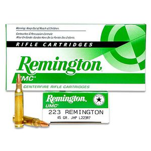 Remington UMC .223 Remington Ammunition 45 Grain JHP 3550fps