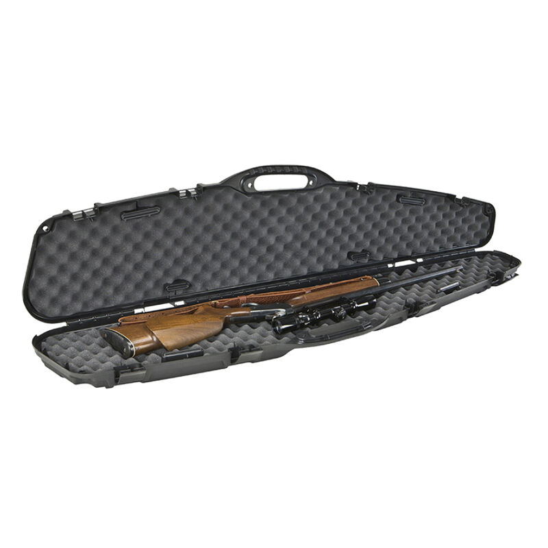 """Plano Pro-Max Single Scoped Rifle Case 52"""" Length PillarLock Crush Resistant Heavy Duty Latches Molded In Handle Thick Walled Construction Polymer Matte Black 4 Pack 151101"""