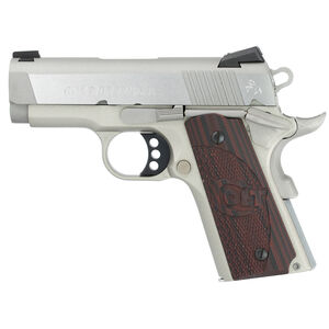 """Colt Defender Compact 1911 Semi Auto Pistol .45 ACP 3"""" Barrel 7 Round Magazine Novak Sights Stainless Steel Slide/Alloy Frame Brushed Stainless Steel Finish"""