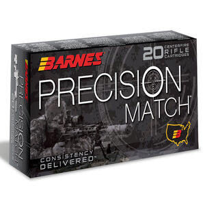 Barnes Precision Match 6mm Creedmoor Ammunition 20 Rounds 112 Grain Open Tip Match Boat Tail Projectile