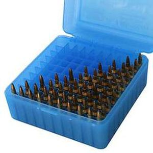 MTM Case-Gard R-100 Series Flip Top Medium Rifle Ammo Box Polymer Clear Blue RM-100-24