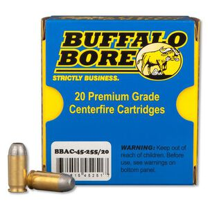 Buffalo Bore Outdoorsman .45 ACP +P Ammunition 20 Rounds Lead HCFN 255 Grains 45-255/20