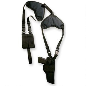 "Bulldog Cases Deluxe Shoulder Harness Vertical Shoulder Holster with Thumb Break Size 14 Revolvers with 5"" to 6.5"" Barrels Ambidextrous Fully Adjustable Nylon Black"