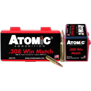 Atomic .308 Winchester Ammunition 20 Rounds 168 Grain Custom Competition Boat Tail Hollow Point 2600fps
