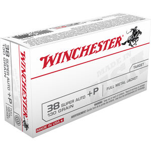 Winchester USA .38 Super +P Ammunition 50 Rounds, FMJ, 130 Grain
