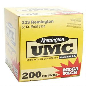 200 Rounds of Remington UMC .223 Remington Ammunition 55 Grain FMJ 3240fps