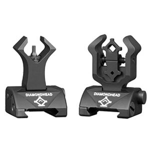 Diamondhead AR-15 Diamond Integrated Flip-Up Sights Same Plane Aluminum Black 1199