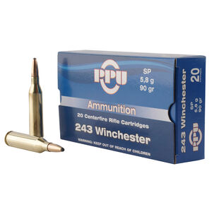 Prvi Partizan PPU .243 Winchester Ammunition 20 Rounds 90 Grain Soft Point 3100fps