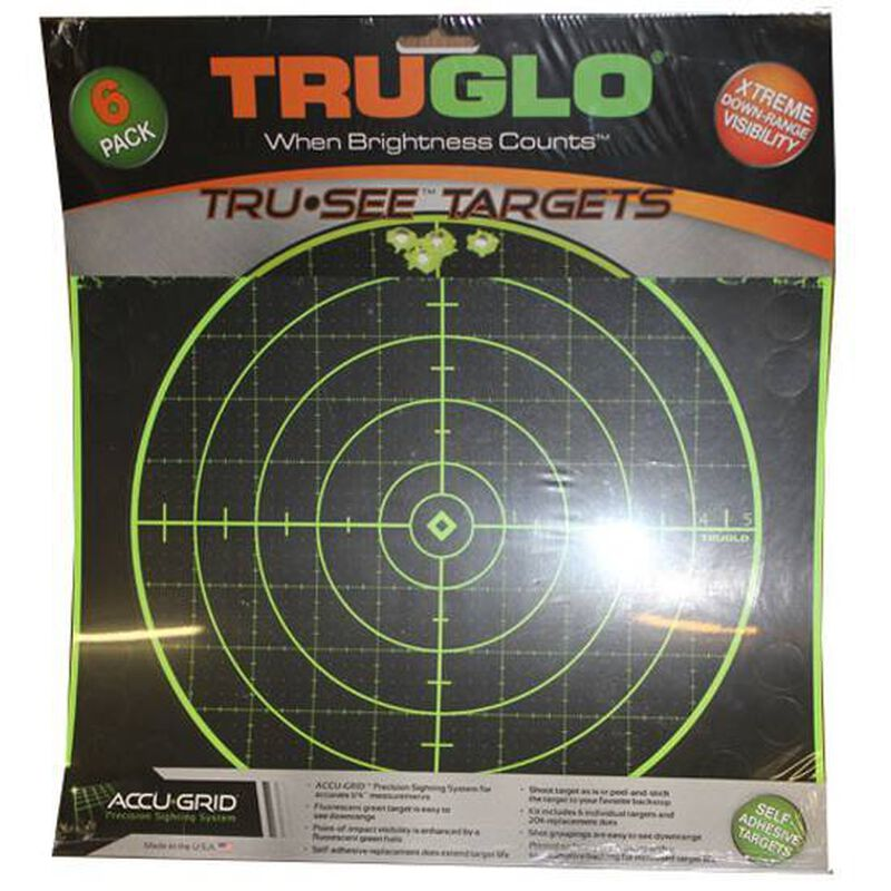 """TRUGLO Tru-See Paper Targets 100 yards 12"""" x 12"""" Fluorescent Green 6 Pack TG10A6"""