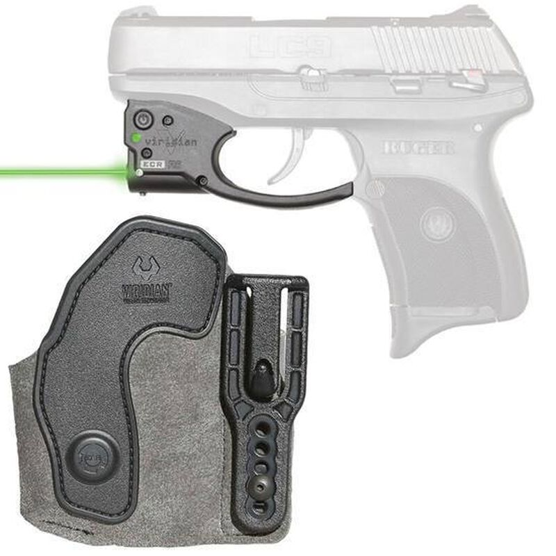 Viridian Reactor 5 Gen 2 Green Laser Sight with ECR Ruger LC9/LC380 with Ambidextrous IWB Instant-On Holster Polymer Housing Matte Black Finish